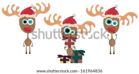 Three cute christmas reindeer, vector illustration - stock vector
