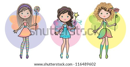 Three cute fairy friends with wings and wands. - stock vector