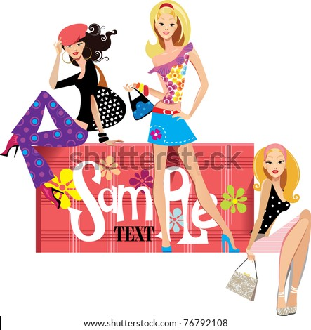 three cute girls and suitcase - stock vector