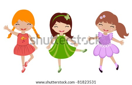 Three cute little girls dancing - stock vector