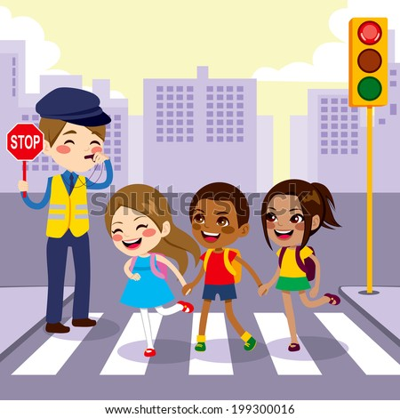 Three cute little school children students crossing street walking through pedestrian crossing with help from male cop holding stop sign - stock vector