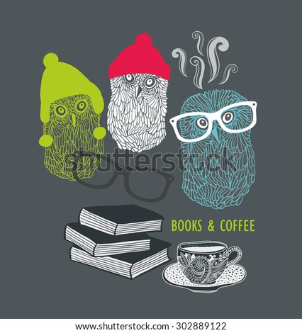 Three cute owls with books and cup of coffee. Vector print in retro style. - stock vector
