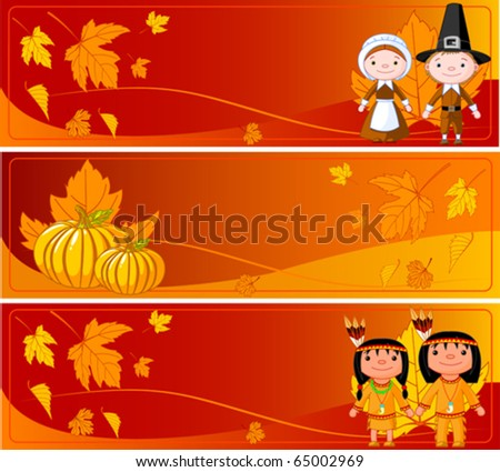 Three Cute Thanksgiving and Autumn horizontal Banners - stock vector