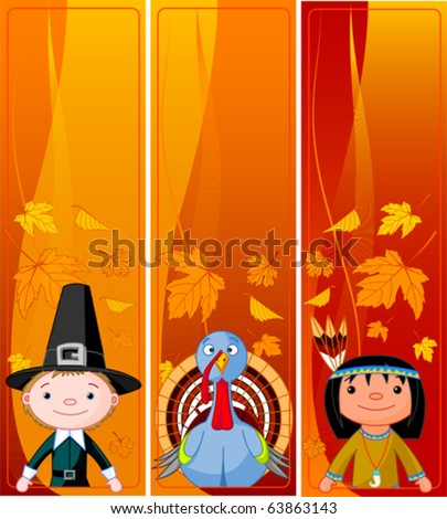 Three Cute Thanksgiving and Autumn vertical Banners - stock vector