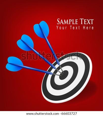 Three darts hitting a target. Success concept. Vector illustration - stock vector