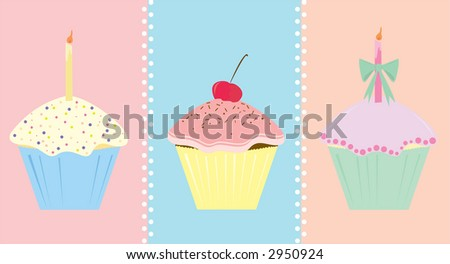 Three decorated cupcakes in mixed pastels. May be used separately or together, with or without background.