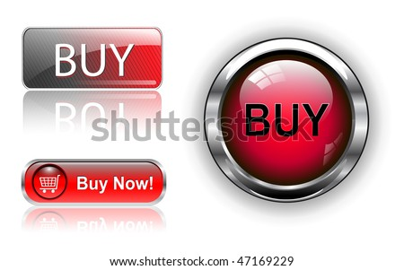 Three different buy icon button red, vector illustration. - stock vector