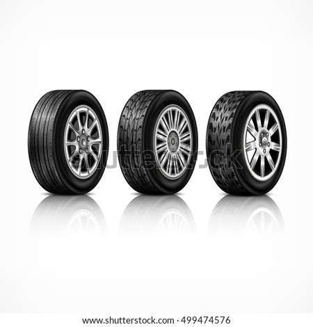 Three different car black new rubber wheels on white background. Tyres and for racing concept. Vector illustration