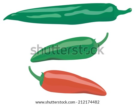 three different color and shape peppers, isolated on white - stock vector