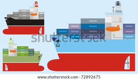 Three different-colored container ships isolated on a light blue background - color vector cartoon illustration - stock vector