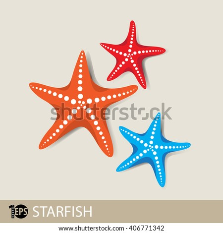 three different colored starfish, eps10 vector