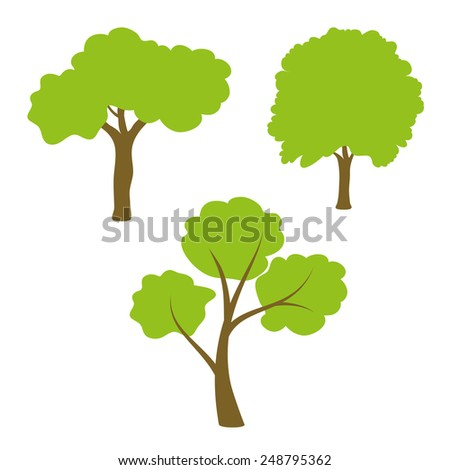 Three different green tree set on white background - stock vector