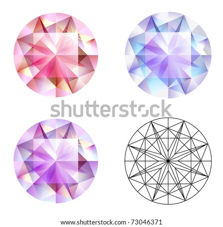 Three different kind of gems isolated on the white - stock vector