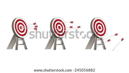 three different targets with arrows and wooden holder - stock vector