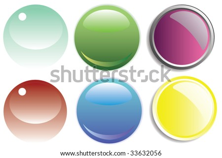 three different types of vector buttons, easy to edit colors