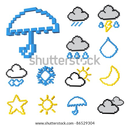 Three dimens pixel weather icon set .Vector format. - stock vector