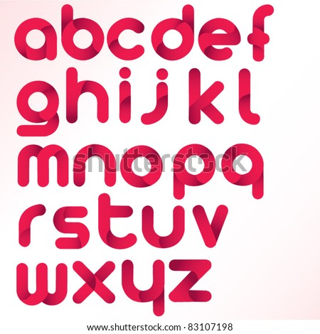 three dimension alphabet set - stock vector