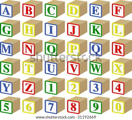 Three-Dimensional Alphabet and Numeric Baby Blocks (vector) - stock vector