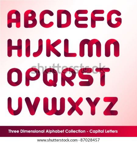 three dimensional alphabet set in capital letters - stock vector