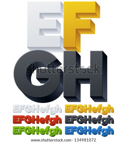 Three-dimensional alphabet. Vector illustration of 3d font characters. Plastic style. Letters efgh - stock vector