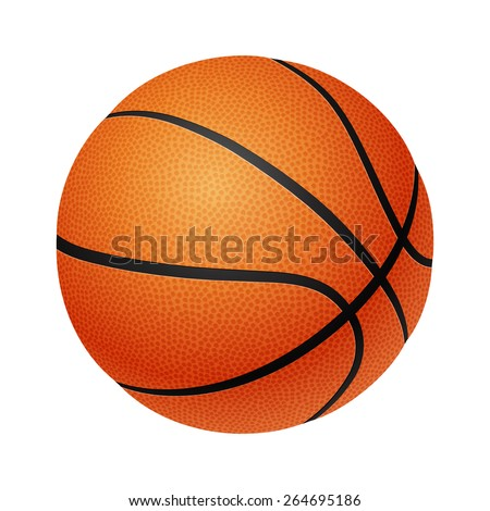 Three-dimensional basketball isolated on a white background. Vector illustration.  - stock vector