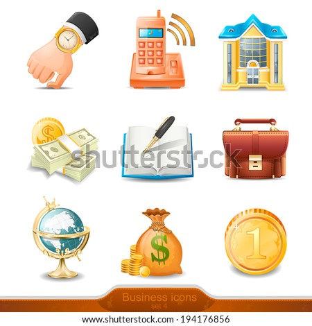 Three-dimensional Business icons illustration vector - stock vector