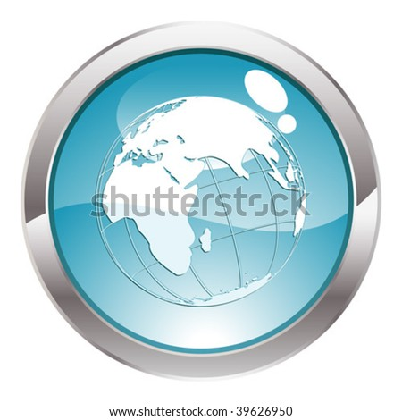 Three Dimensional circle button with Earth icon, vector illustration
