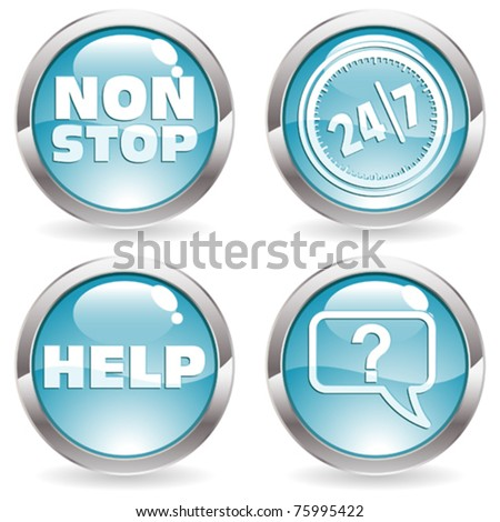 Three Dimensional circle button with twenty four hours by seven days  icon and Help icon, vector illustration
