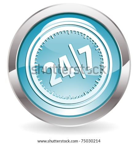 Three Dimensional circle button with twenty four hours by seven days  icon, vector illustration - stock vector