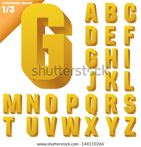 Three-dimensional condensed alphabet. Vector illustration of 3d font characters. Clear color style. Upper case - stock vector