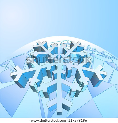 three dimensional crystal blue card with snowflake vector template - stock vector