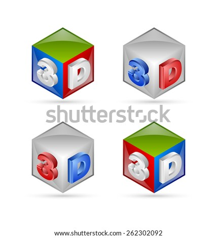 Three dimensional cubes placed on white background - stock vector