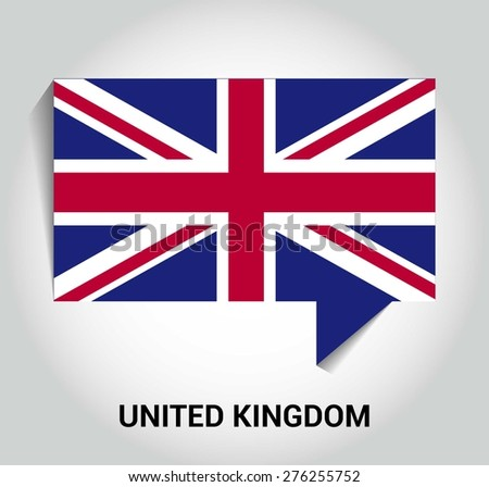 three dimensional 3d United Kingdom UK Great Britain flag in a speech bubble . education foreign language concept . country's name label in bottom . Vector illustration - stock vector