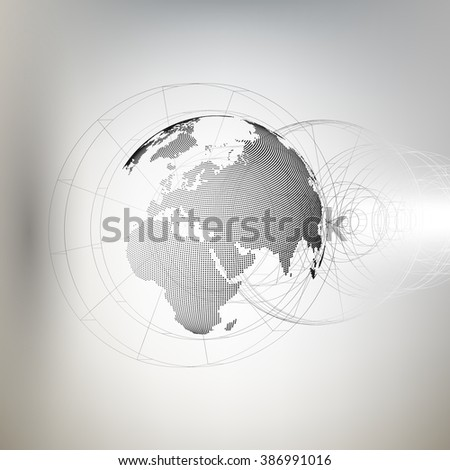 Three-dimensional dotted world globe with abstract construction on gray background, vector illustration. - stock vector