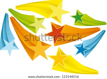 Three-dimensional flash labels in 5 colors - stock vector