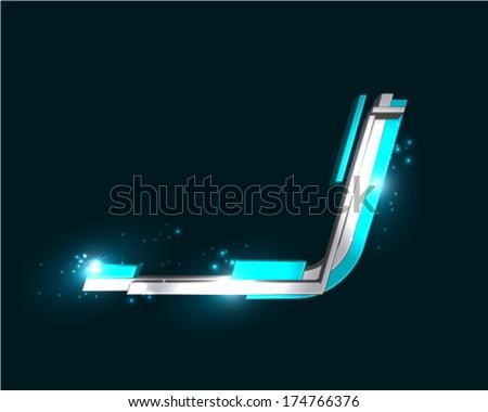 Three Dimensional Futuristic Font - stock vector