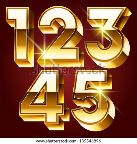 Three-dimensional golden alphabet. Vector illustration of 3d realistic font characters of gold. Numbers 1 2 3 4 5 - stock vector