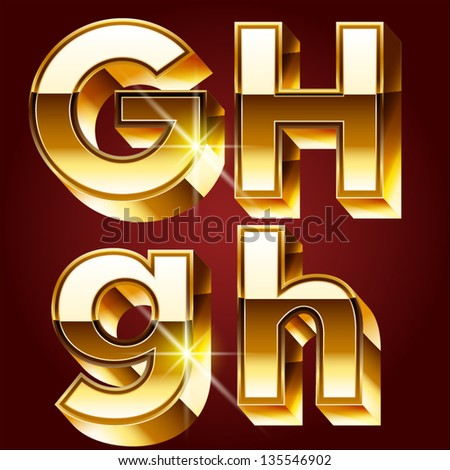 Three-dimensional golden alphabet. Vector illustration of 3d realistic font characters of gold. Letters g h - stock vector