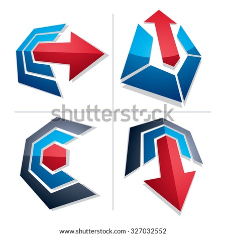Three-dimensional graphic elements collection with simple arrows, business development and technology innovation theme vector icons. Company growth concept, set of 3d abstract symbols. - stock vector