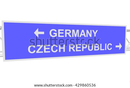 three-dimensional illustration of a road sign with directions: GERMANY; CZECH REPUBLIC