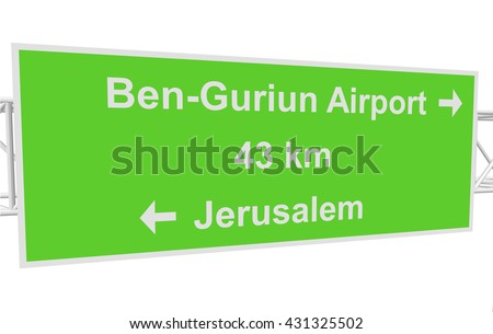 three-dimensional illustration of a road sign with directions: Jerusalem; Ben-Guriun Airport; distance