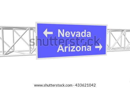 three-dimensional illustration of a road sign with directions: Nevada; Arizona
