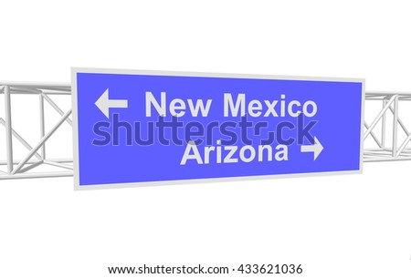 three-dimensional illustration of a road sign with directions: New Mexico; Arizona - stock vector