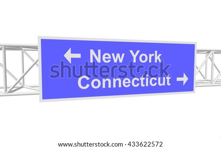 three-dimensional illustration of a road sign with directions: New York; Connecticut - stock vector