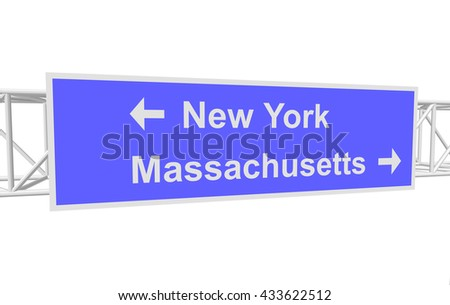 three-dimensional illustration of a road sign with directions: New York; Massachusetts - stock vector