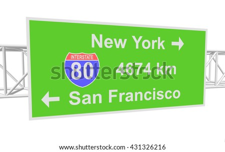 three-dimensional illustration of a road sign with directions: New York; San Francisco - stock vector