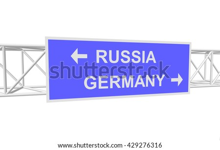 three-dimensional illustration of a road sign with directions: RUSSIA; FRANCE