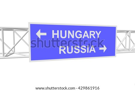 three-dimensional illustration of a road sign with directions: RUSSIA; HUNGARY