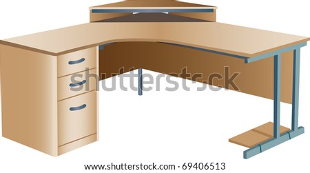 Three dimensional illustration of angled modern wooden office corner desk or workstation, isolated on white background. - stock vector