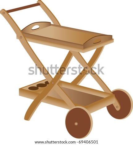Three dimensional illustration of wooden baby toy cart, isolated on white background. - stock vector